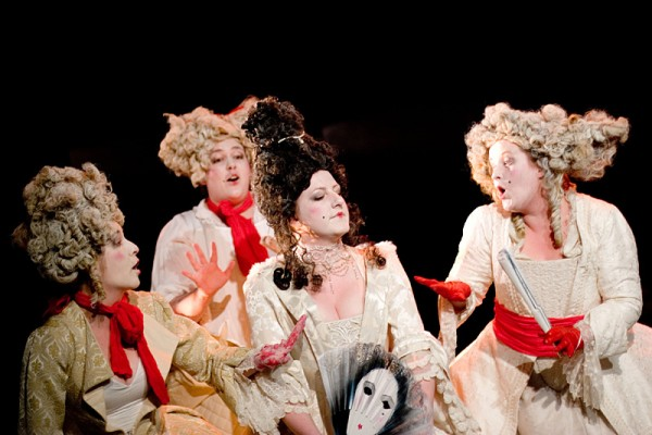 From left to right: Jen Downer, Sonya Knussen, Jo Weeks and Penny Mansur in Mister Purcell: his Ground (the Knack)